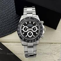 Часы мужские наручные механические с автоподзаводом Rolex Daytona Metal Silver-Black-Black реплика ААА класса, фото 3
