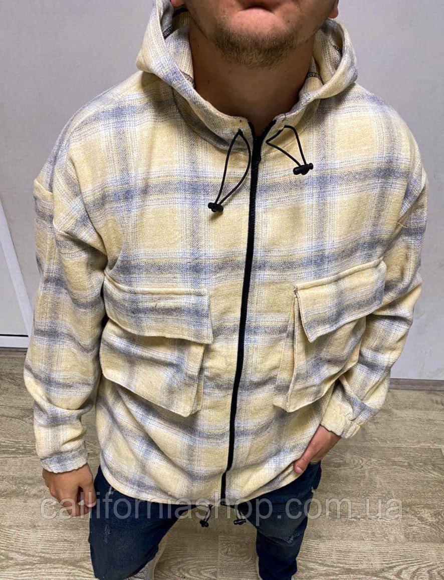 Байковая рубашка мужская в клетку с капюшоном и карманами на молнии