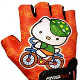Велорукавички PowerPlay 5473 Kitty Помаранчеві 4XS SKL24-143802, фото 2