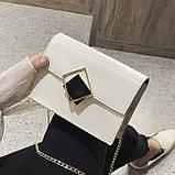 Женская классическая сумочка через плечо кросс-боди на цепочке белая, фото 3
