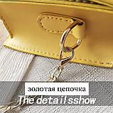 Женская классическая сумочка через плечо кросс-боди на цепочке белая, фото 9