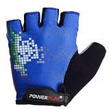 Велорукавички PowerPlay 002 D Сині M SKL24-144218, фото 2