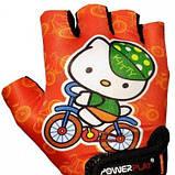 Велорукавички PowerPlay 5473 Kitty Помаранчеві 3XS SKL24-144241, фото 2