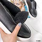 Зимові жіночі чорні хайтопы, натуральна лакована шкіра, фото 10