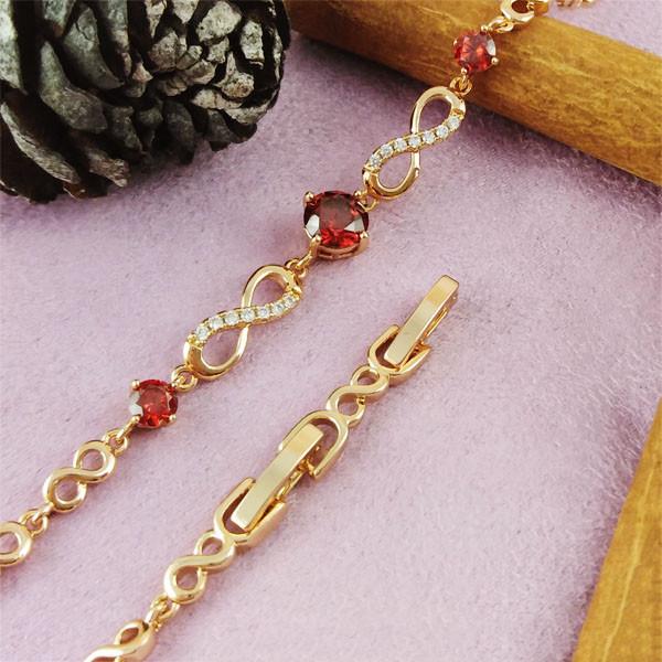 Браслет Xuping Jewelry 16,5/18,5 см Бесконечность красный медицинское золото позолота 18К А/В 4-0141