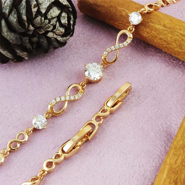 Браслет Xuping Jewelry 16,5/18,5 см Бесконечность белый медицинское золото позолота 18К А/В 4-0142
