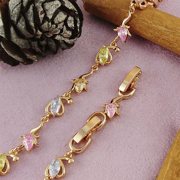 Браслет Xuping Jewelry 16,5/19 см Флоренс цветные медицинское золото позолота 18К А/В 4-0143