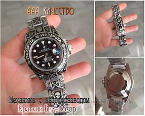 Часы мужские наручные механические с автоподзаводом Rolex Daytona Skull Engraved Silver реплика ААА класса