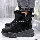 Зимние женские черные ботинки, натуральная кожа/замша, фото 3