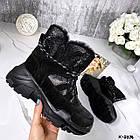 Зимние женские черные ботинки, натуральная кожа/замша, фото 4