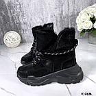 Зимние женские черные ботинки, натуральная кожа/замша, фото 8