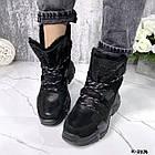 Зимние женские черные ботинки, натуральная кожа/замша, фото 6