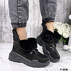 Зимние женские черные ботинки, натуральная кожа/замша, фото 7
