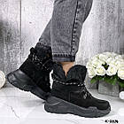 Зимние женские черные ботинки, натуральная кожа/замша, фото 9