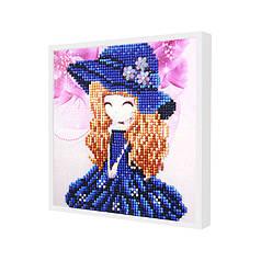 """Алмазна мозаїка Lesko DIY 1016 """"Дівчинка в капелюсі"""" для дітей дитяче рукоділля"""
