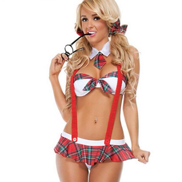 Эротический игровой костюм школьницы Dear Lover Красно-белый S/M/L