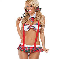 Эротический игровой костюм школьницы Dear Lover Красно-белый S/M/L, фото 1
