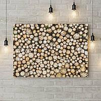 Картина на холсте на стену для интерьера дом Деревянное панно, 50х35 см