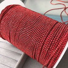 Стразовая цепочка, цвет красный, ss4,5 (1,6 mm), оправа под цвет страз 1 м.
