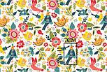 """Ткань бязь """"Разноцветные птицы и цветы"""" на белом фоне, №3207а, фото 3"""