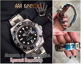 Часы мужские наручные механические с автоподзаводом Rolex GMT Master II Silver-Black реплика ААА класса