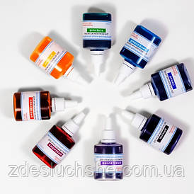 Комплект из 8 жидких красителей, синий, бирюзовый, желтый, черный, фиолет., вишн., оранж., зел. SKL12-152557