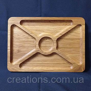 Менажница деревянная прямоугольная доска для подачи блюд 35*25 на 5 секции двусторонняя из дуба