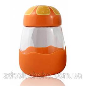 Кружка з скла в силиконвой захисту з кришкою Fruits апельсин SKL11-203630
