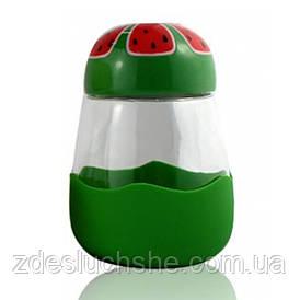 Кружка з скла в силиконвой захисту з кришкою Fruits кавун SKL11-203677