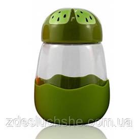 Кружка з скла в силиконвой захисту з кришкою Fruits ківі SKL11-203678
