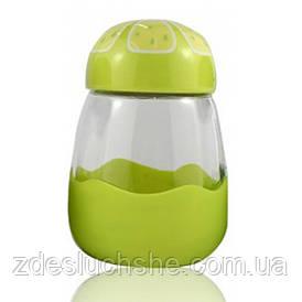Кружка з скла в силиконвой захисту з кришкою Fruits лайм SKL11-203679