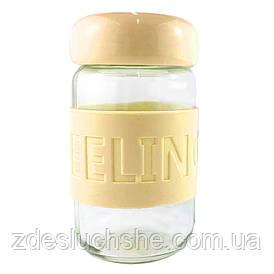 Кружка з скла в силіконовій захисту Sweet Feeling жовта SKL11-203683