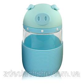 Кружка з скла в силіконовій захисту з кришкою і ремінцем Piggy блакитна SKL11-203686