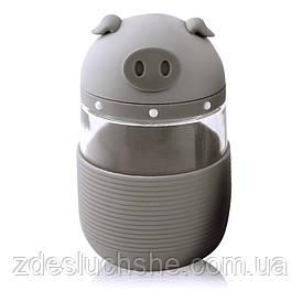 Кружка з скла в силіконовій захисту з кришкою і ремінцем Piggy сіра SKL11-203689