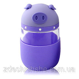 Кружка з скла в силіконовій захисту з кришкою і ремінцем Piggy фіолетова SKL11-203687