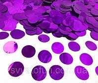 Конфетти Кружочки 23мм фиолетовый металлик 50г