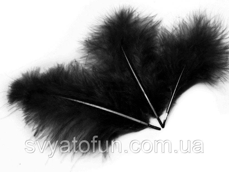 Перья натуральные для декора черные