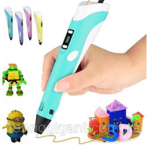 3Д Ручка 3D Air Pen LED дисплей 2 поколения MyRiwell с подставкой пластиком для объёмных моделей Голубая