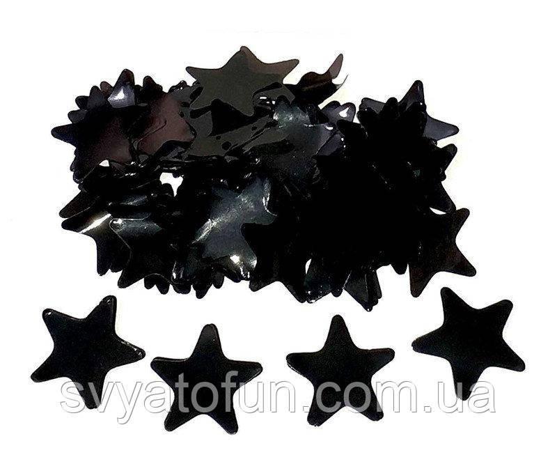 Конфетти Звездочки 35мм черный 50г