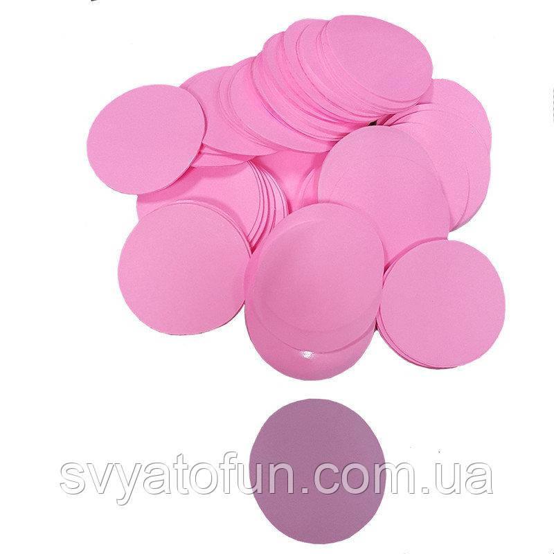 Конфетти кружочки 23мм розовый 50г