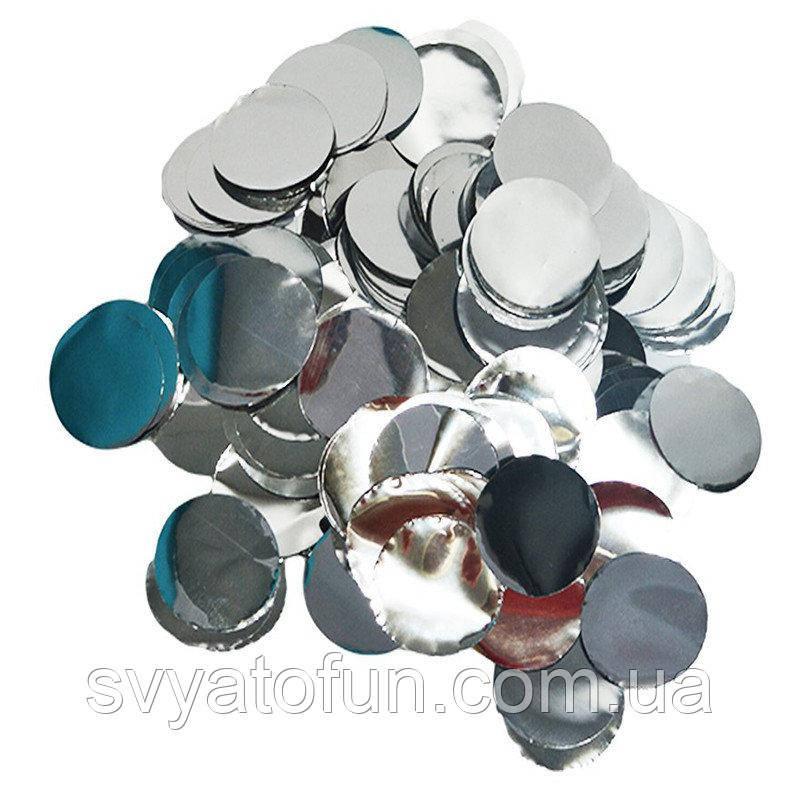 Конфетти Кружочки 35мм серебро 50г