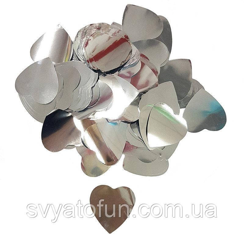 Конфетти Сердечки 25мм серебро 250г