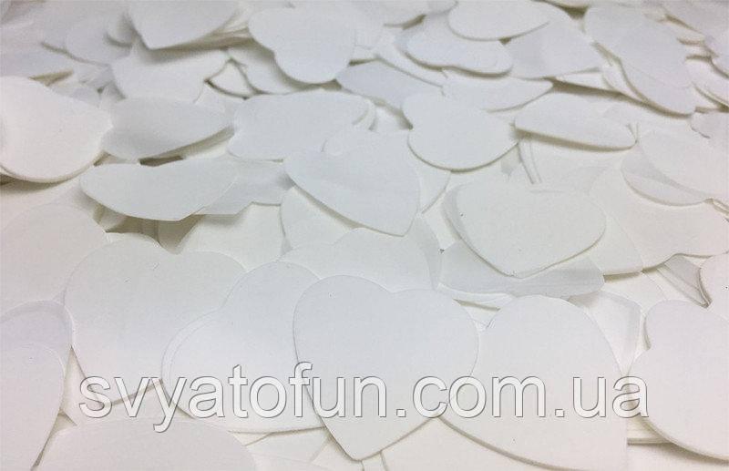 Конфетти Сердечки 25мм белый 250г