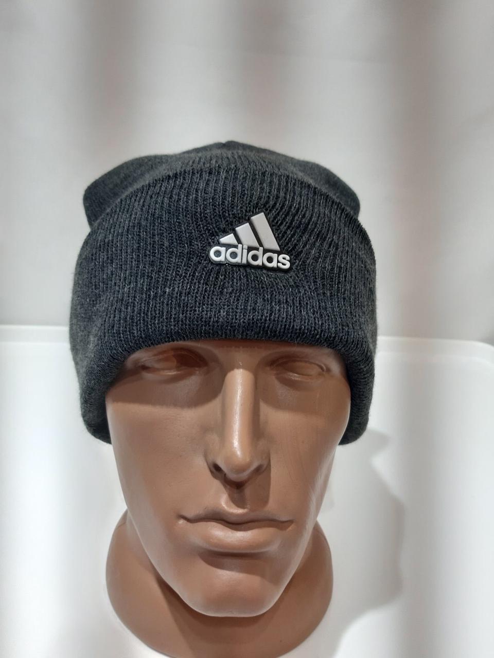 Теплая мужская зимняя шапка темно-серая шерстяная с отворотом отличного качества