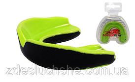 Капа боксерська PowerPlay JR Зелено-Чорна 3314 SKL24-190120