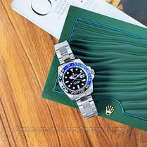 Часы мужские наручные механические с автоподзаводом  Rolex GMT Master II Silver-Black-Blue реплика ААА класса, фото 2