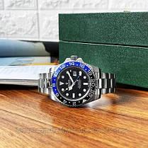 Часы мужские наручные механические с автоподзаводом  Rolex GMT Master II Silver-Black-Blue реплика ААА класса, фото 3