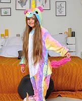 Детская пижама кигуруми единорог радужный  рост 110-140 см
