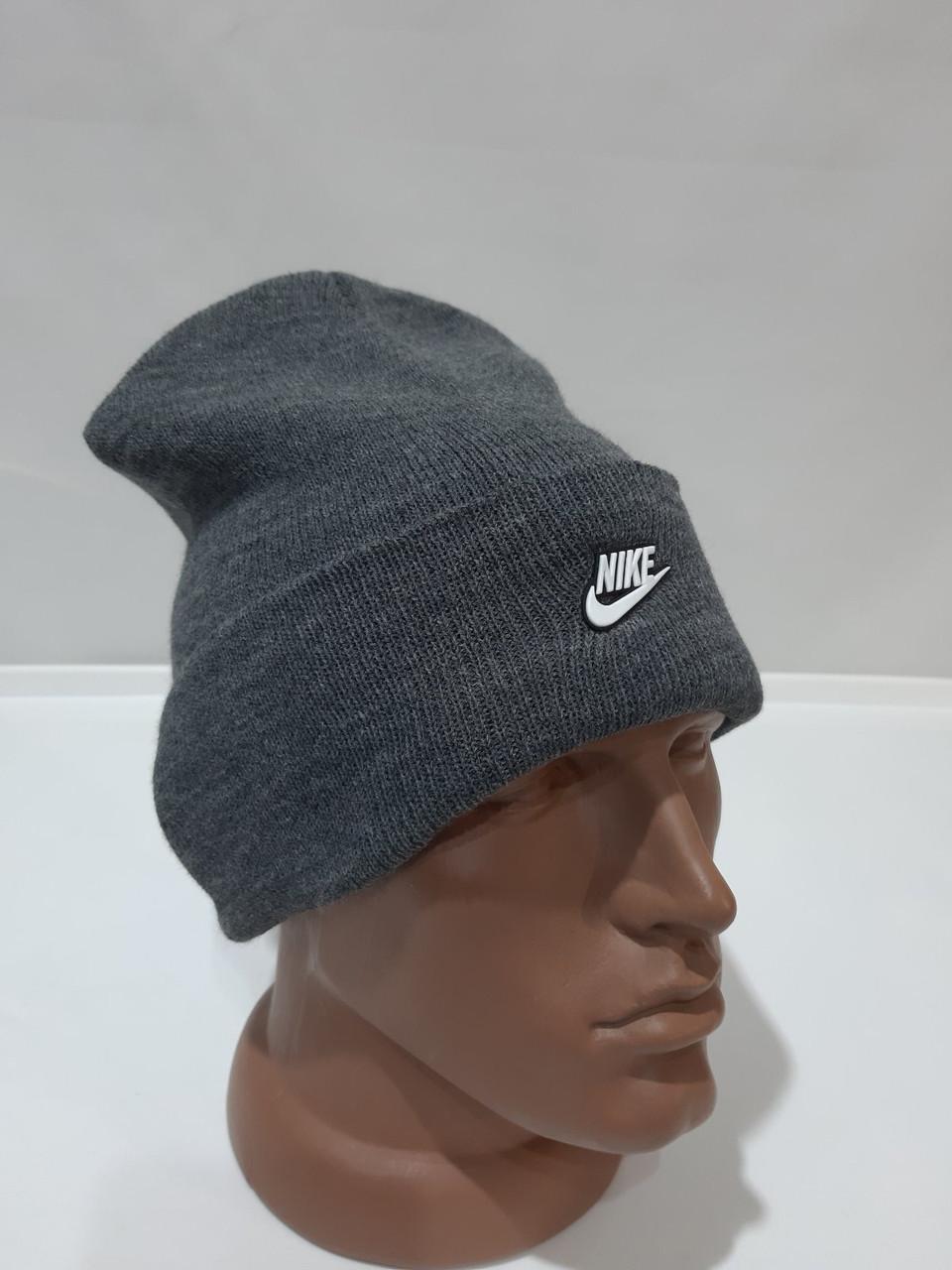 Мужская зимняя шапка светло-серая шерстяная с отворотом отличного качества