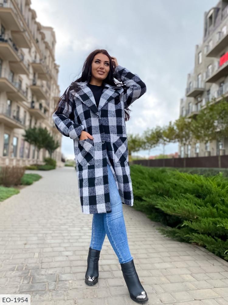 """Элегантное женское пальто демисезон в больших размерах """"Шерсть Клетка Овер Миди"""" (DG-с 495-2)"""